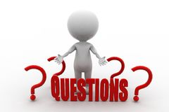 3d man questions concept Royalty Free Stock Photography