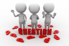 3d man questions concept Royalty Free Stock Photos