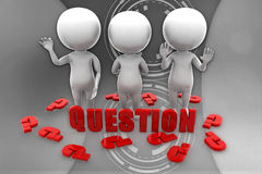3d man questions illustration Stock Photos