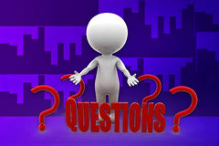 3d man questions illustration Stock Image