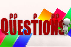 3d Man Questions Royalty Free Stock Images