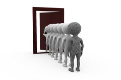 3d man queue door concept Stock Images