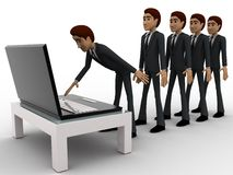 3d man in queue and working on laptop concept Royalty Free Stock Image