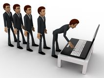 3d man in queue and working on laptop concept Royalty Free Stock Photo