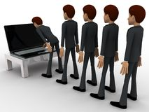 3d man in queue and working on laptop concept Royalty Free Stock Photos