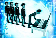 3d man in queue and working on laptop illustration Royalty Free Stock Photos