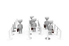 3d man queues concept Stock Photo