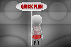 3d man quick plan illustration Stock Image