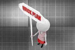 3d man quick plan illustration Stock Photos