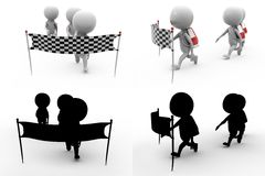 3d man race Concept Collections With Alpha And Shadow Channel Stock Photo