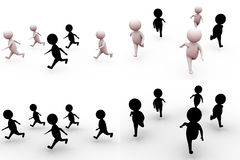 3d man race concept collections with alpha and shadow channel Stock Images