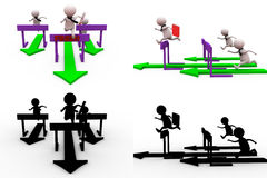 3d man race jump concept collections with alpha and shadow channel Royalty Free Stock Photo