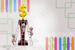 3d man race to top for dollar  illustration Royalty Free Stock Images