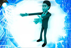 3d man with raised hand and heart shape on chest illustration Royalty Free Stock Photo