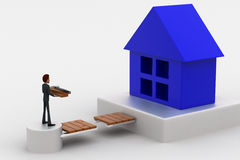 3d man with rapair tools in hand and waking toward house concept Stock Image