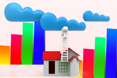 3d Man Reaching Clouds From His House Illustration Stock Photo