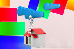 3d Man Reaching Clouds From His House Illustration Royalty Free Stock Image