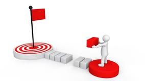 3d man reaching goal plan Royalty Free Stock Images