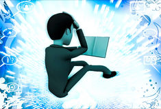 3d man read book and can not understand it illustration Stock Image