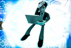 3d man read book and can not understand it illustration Royalty Free Stock Photo