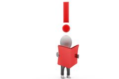 3d man read book with exclamation mark concept Royalty Free Stock Photos