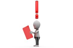 3d man read book with exclamation mark concept Stock Photos