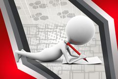 3d man read book  illustration Stock Photo