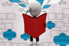 3d man read book with worry illustration Stock Photos