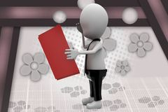 3d man read book with worry illustration Royalty Free Stock Photos