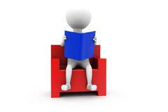 3d man read on chair concept Stock Photography