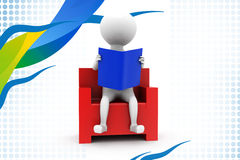 3d man read on chair  illustration Royalty Free Stock Photography