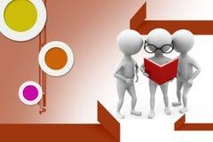 3d man read team illustration Stock Photo