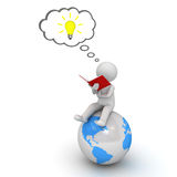 3d man reading a book on blue globe and thinking with idea bulb in thought bubble over white Royalty Free Stock Photography