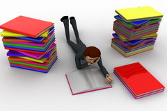 3d man reading book and doing preparation for exams concept Royalty Free Stock Image