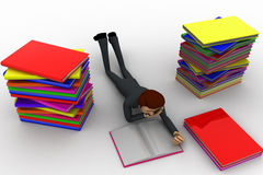 3d man reading book and doing preparation for exams concept Stock Images