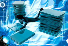 3d man reading book and doing preparation for exams illustration Royalty Free Stock Photos