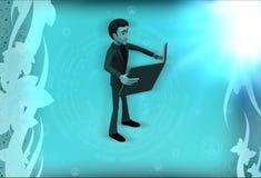 3d man reading book illustration Royalty Free Stock Image