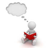 3d man reading a book and thinking with a thought bubble over white Royalty Free Stock Photography
