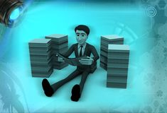 3d man reading books seating between books illustration Royalty Free Stock Images