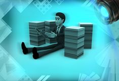 3d man reading books seating between books illustration Stock Photography