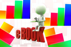 3d Man Reading E - Book Illustration Royalty Free Stock Photography