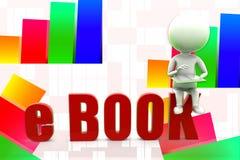 3d Man Reading E - Book illustration Royalty Free Stock Photo