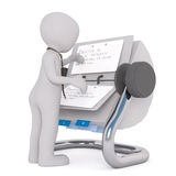 3D man reading notes in rolodex Royalty Free Stock Photos