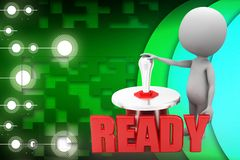 3d man with ready switch illustration Royalty Free Stock Photos