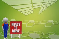 3d man with ready to move illustration Royalty Free Stock Images