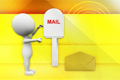 3d man receiving mail from mail box illustration Stock Photos