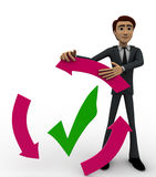 3d man with recycle arrow and correct symbol concept Royalty Free Stock Photo