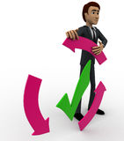 3d man with recycle arrow and correct symbol concept Royalty Free Stock Photography