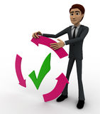 3d man with recycle arrow and correct symbol concept Royalty Free Stock Images