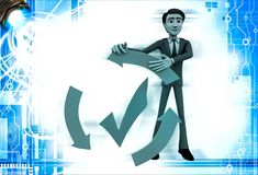 3d man with recycle arrow and correct symbol illustration Stock Images